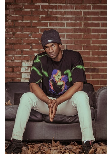 XHAN Siyah Önü & Arkası Baskılı T-Shirt 1Kxe1-44612-02 Siyah